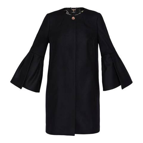 Ted Baker Black Jordane Sculpted Wool Coat