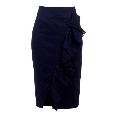 Ted Baker Navy Malori Ruffle Cotton Blend Pencil Skirt