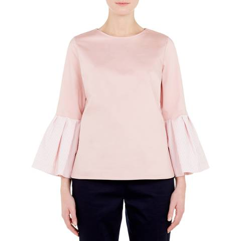 Ted Baker Dusty Pink Jesieh Stripe Frilled Top