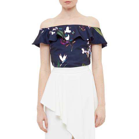 Ted Baker Navy Imygen Tropical Oasis Frill Top