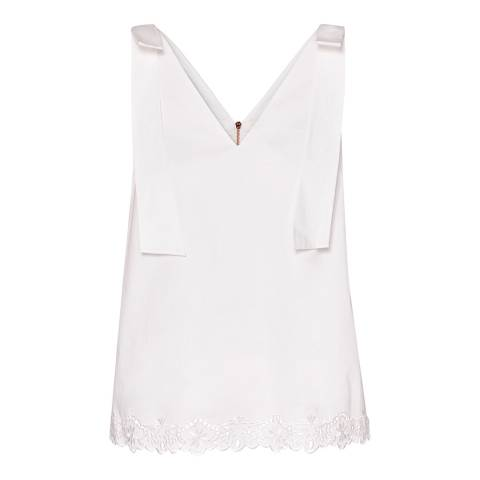 Ted Baker White Daynaa Bow Cotton Stretch Top