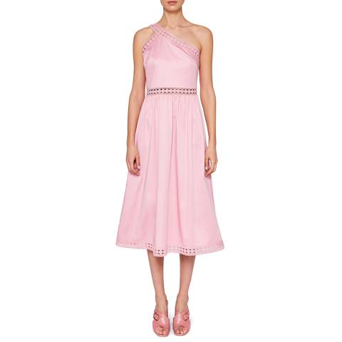 Ted Baker Dusky Pink Kallii Asymmetric Cotton Midi Dress