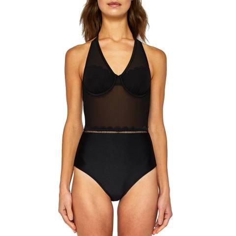 Ted Baker Black Kesia Scallop Mesh Swimsuit