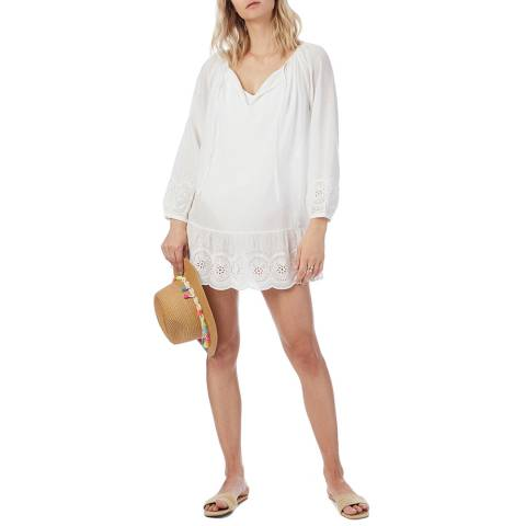 N°· Eleven White Cotton Broderie Anglaise Tunic