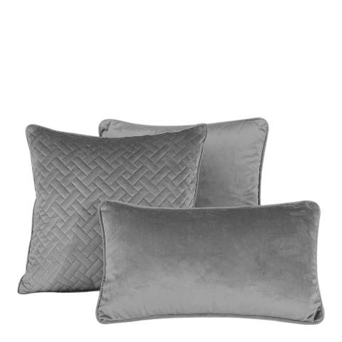 Limited Edition French Velvet 45x45cm Cushion Cover, Silver