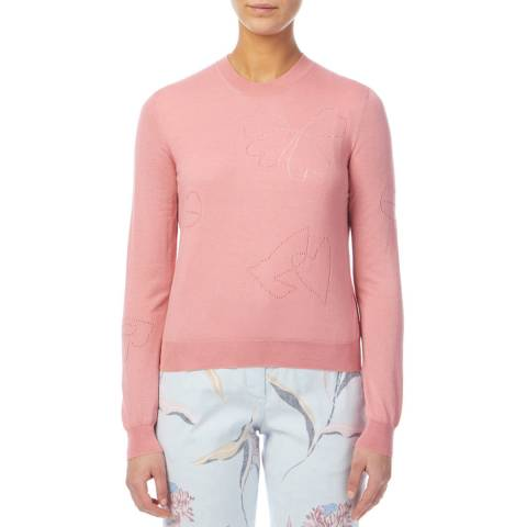 PAUL SMITH Pink Openwork Wool/Silk Jumper