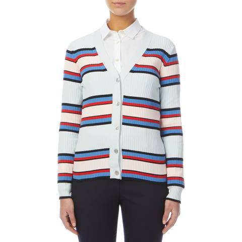 PAUL SMITH Blue/Multi Stripe Cotton Cardigan