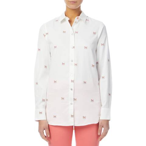 PAUL SMITH White Embroidered Dog Cotton Shirt