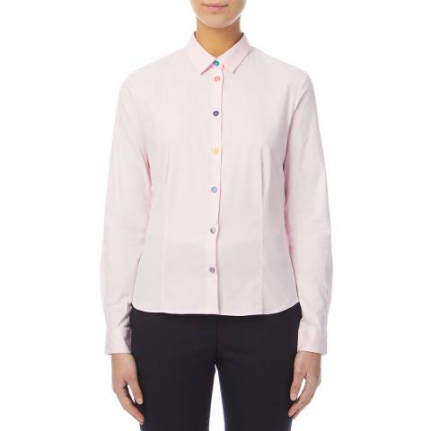 PAUL SMITH Pink Colourful Button Stretch Cotton Shirt