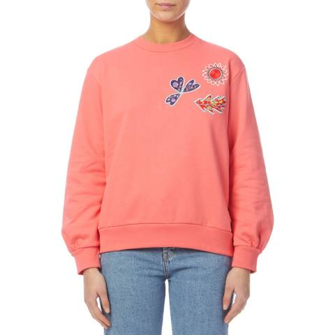PAUL SMITH Pink Embroidered Cotton Sweatshirt