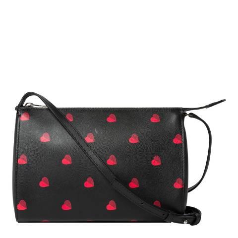 PAUL SMITH Black Red Heart Pochette Bag