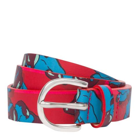 PAUL SMITH Red Floral Leather Belt