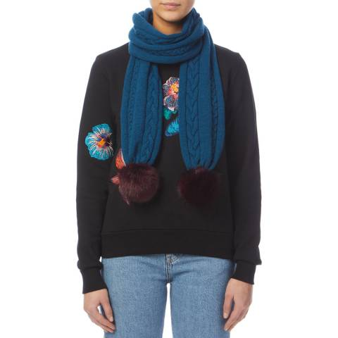 PAUL SMITH Blue Pom Cable Scarf