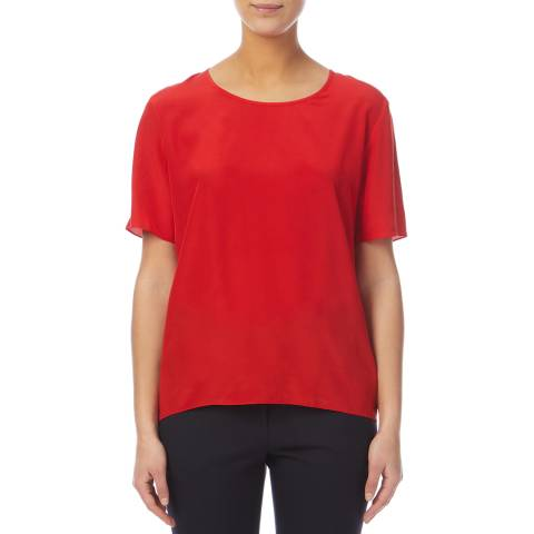 PAUL SMITH Red Crew Neck Silk Top