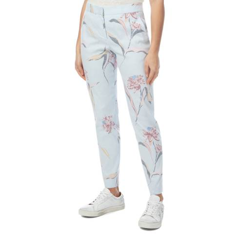 PAUL SMITH Light Blue Patterned Tapered Trousers