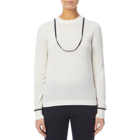 PAUL SMITH White Trim Wool Jumper