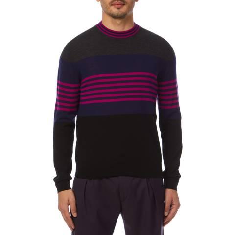 PAUL SMITH Purple Stripe Crew Jumper