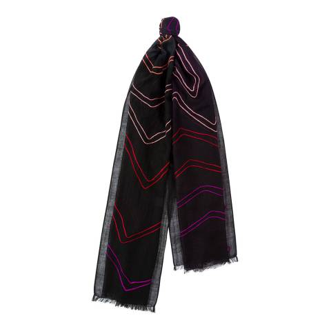 PAUL SMITH Multi Zig Zag Embroidered Wool Scarf