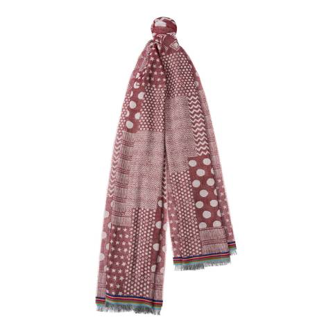PAUL SMITH Burgundy Optical Mix Jacquard Scarf