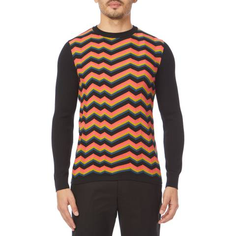 PAUL SMITH Navy Zig Zag Crew Jumper