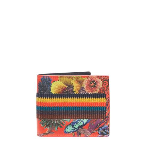 PAUL SMITH Coral Floral Stripe Bifold Wallet