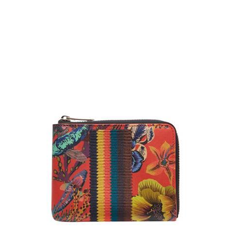 PAUL SMITH Red Floral Corner Zip Wallet
