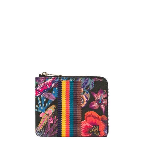 PAUL SMITH Black Floral Corner Zip Wallet