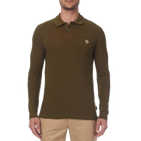 PAUL SMITH Khaki Regular Long Sleeve Polo Shirt