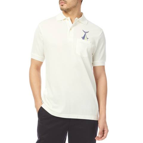 PAUL SMITH White Embroidered Polo Shirt