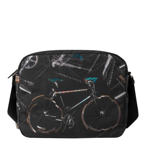 PAUL SMITH Black Pauls Bike Print Messenger Bag