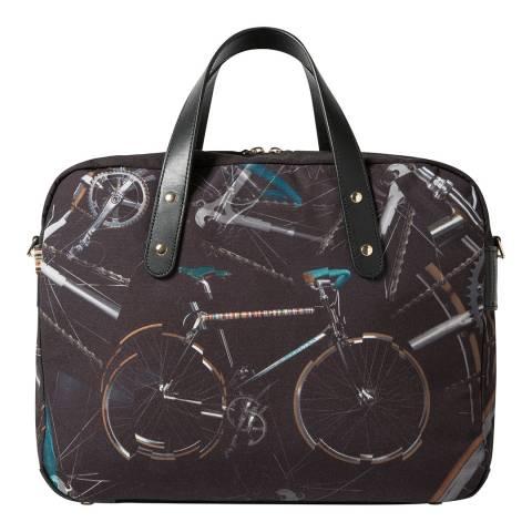 PAUL SMITH Black Bike Print Folio Bag