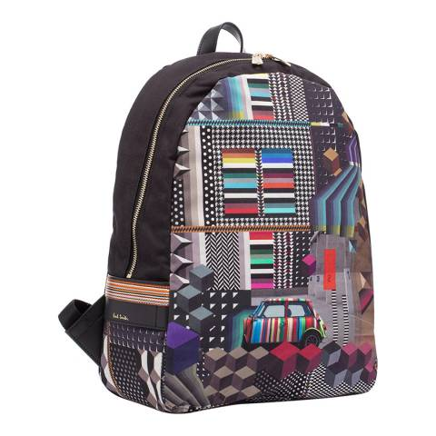 PAUL SMITH Black Geo Mini Rucksack
