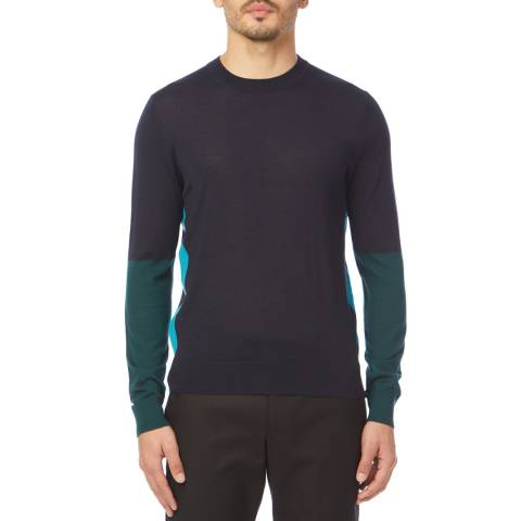 PAUL SMITH Navy/Multi Coloublock Wool/Silk Jumper