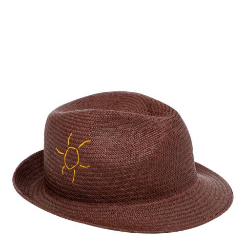 PAUL SMITH Chocolate Embroidered Panama Hat