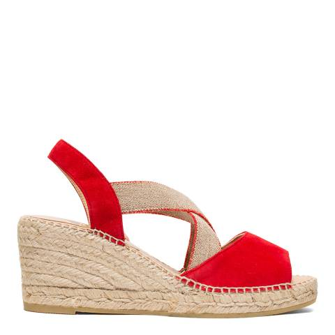 Kanna Red/Gold Ania Espadrille Wedge Sandal