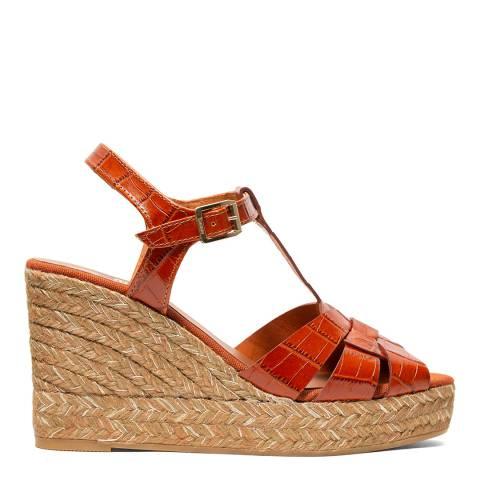 Kanna Cognac Leather Ines 20 Wedge Sandal