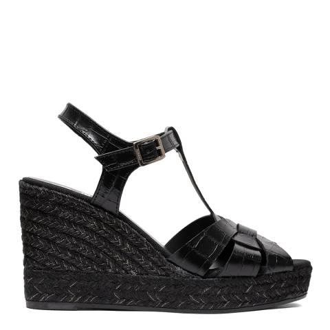 Kanna Black Leather Ines 20 Wedge Sandal