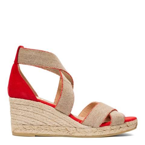 Kanna Red/Beige Laura Wedge Sandal