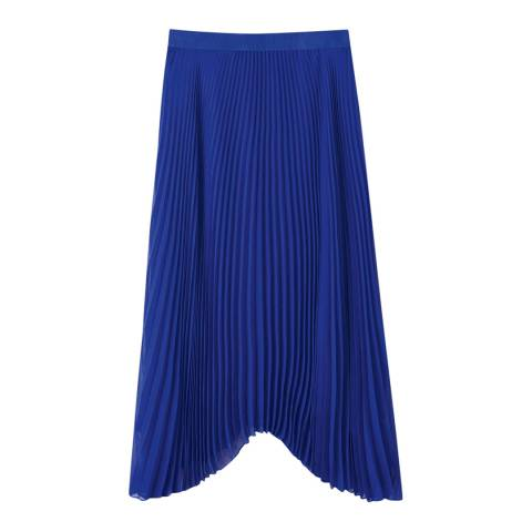 Pure Collection Blue Pleated Drop Hem Skirt