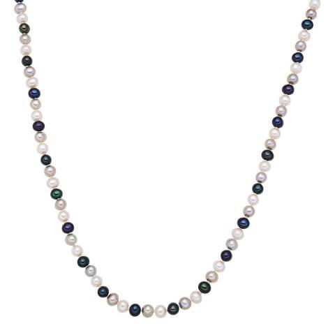 Nova Pearls Copenhagen White/Silver/Peacock Blue Freshwater Pearl Necklace