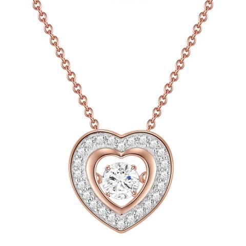 Lindenhoff Rose Gold Crystal Heart Necklace