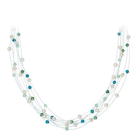 Nova Pearls Copenhagen White/Blue/Green Pearl and Crystal Necklace