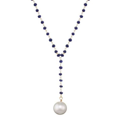 Liv Oliver 18K Gold Sapphire & Pearl Y Necklace