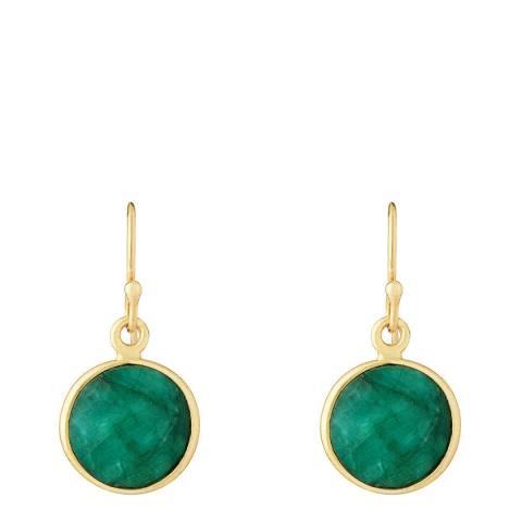 Liv Oliver 18K Gold Emerald Disc Earrings