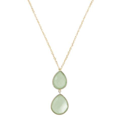 Liv Oliver 18K Gold Chalcedony Double Drop Necklace