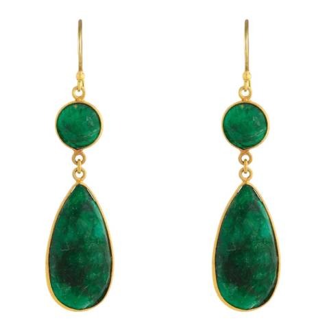 Liv Oliver 18K Gold Plated Emerald Statement Earrings