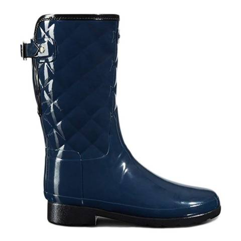 Hunter Navy Gloss Quilted Short Boots