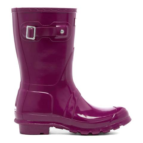Hunter Purple Gloss Short Wellington Boots