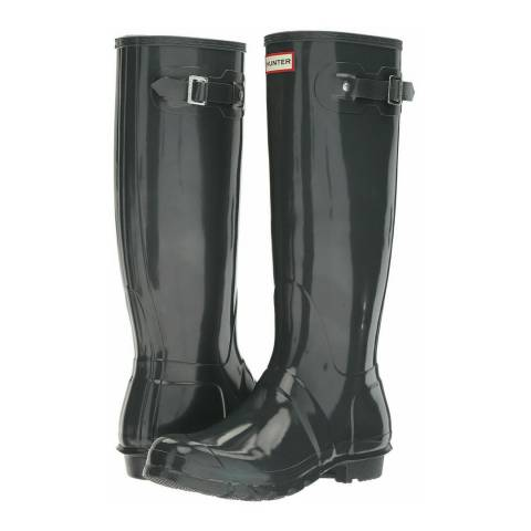Hunter Dark Slate Gloss Original Tall Wellington Boots