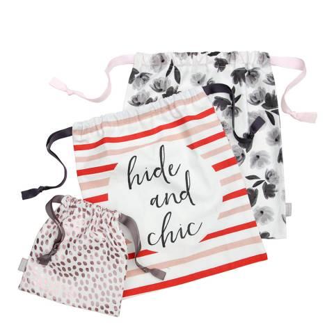 Caroline Gardner Rose Gold Dotty Set of 3 Travel Bags